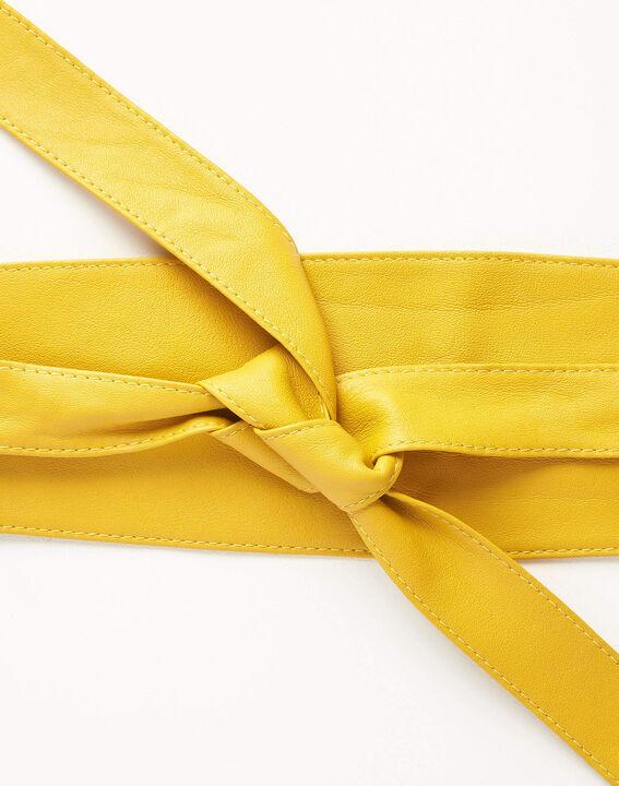 Ceinture large jaune en cuir à nouer Raul PhotoZ   1-2-3