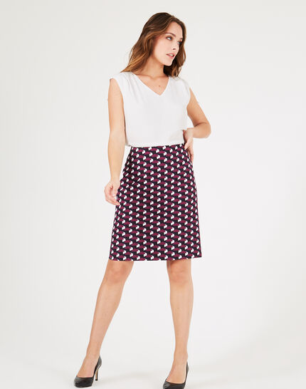 Fantastic navy blue straight-cut tailored printed skirt (1) - 1-2-3