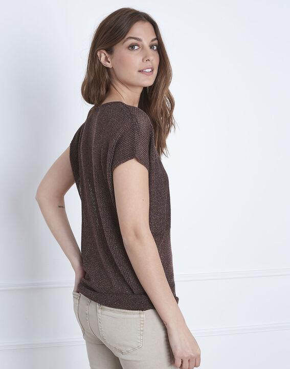 Brauner Pullover mit V-Ausschnitt aus Lurex Amande (4) - Maison 123