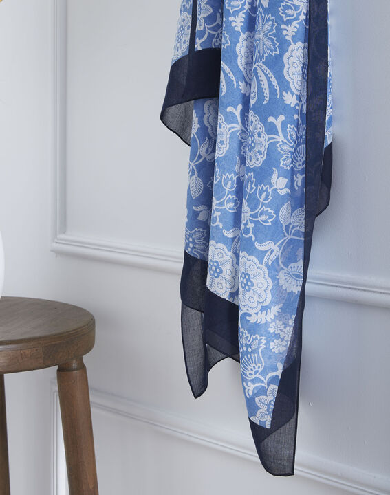 Foulard bleu imprimé floral Opaline PhotoZ   1-2-3