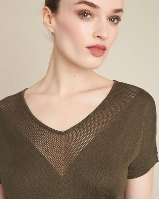 Khakifarbener Feinstrick-Pullover mit Ajour-Ausschnitt Never (1) - 1-2-3