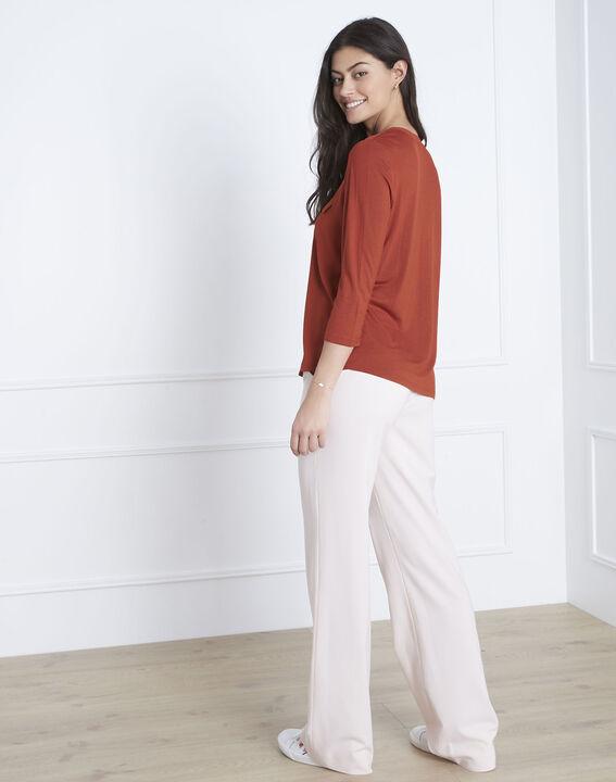 Mahoniebruine blouse uit twee materialen Genna (4) - 37653