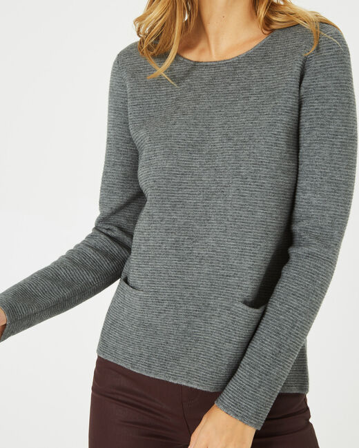 Pull gris chiné col rond Paradis (2) - 1-2-3