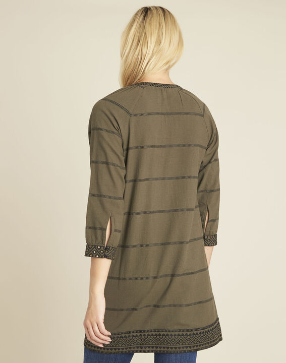 Domino khaki ethnic print dress (4) - Maison 123