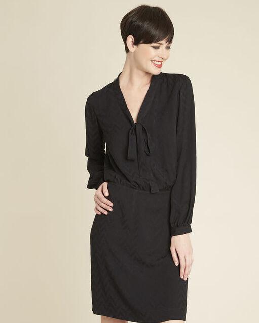 Robe noire imprimée col lavallière Dorothy (1) - 1-2-3