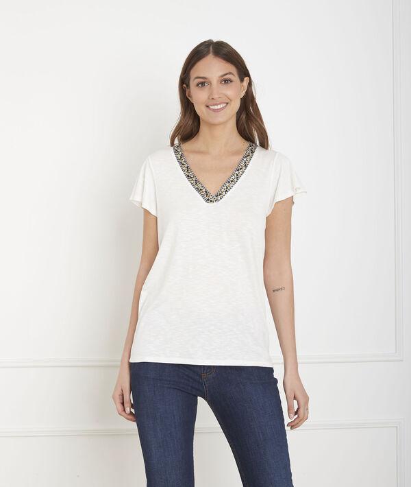 Tee-shirt écru encolure fantaisie Penelope PhotoZ | 1-2-3