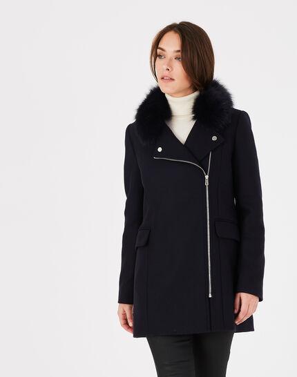 Oryanne navy wool-blend coat with fur collar (1) - 1-2-3