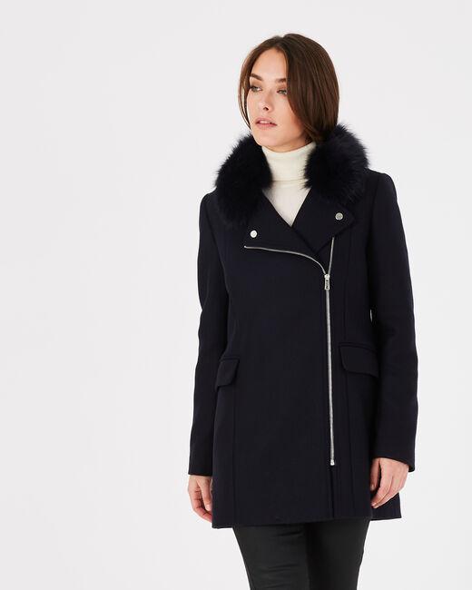 Manteau marine en laine mélangée col fourrure Oryanne (2) - 1-2-3