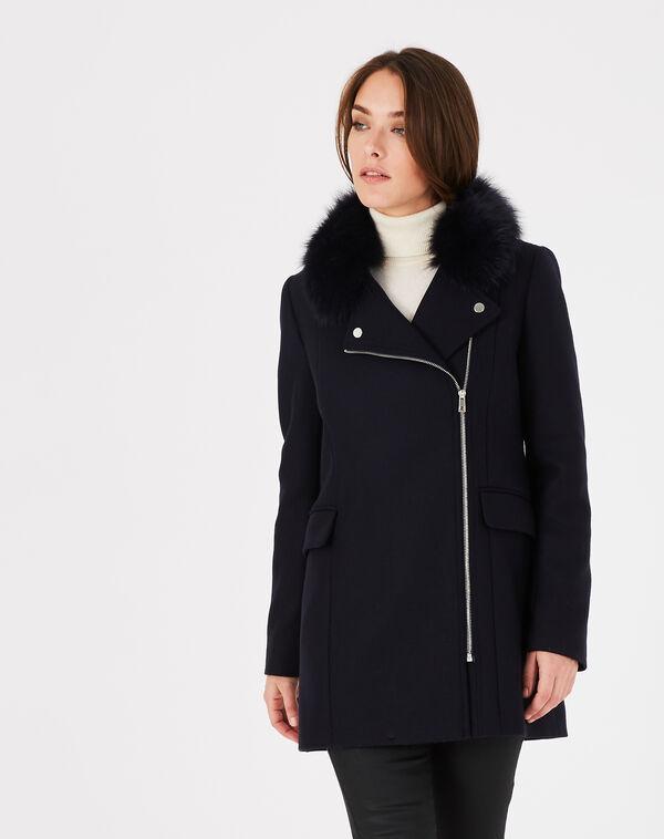 Manteau marine en laine mélangée col fourrure oryanne à