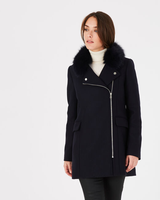 Oryanne navy wool-blend coat with faux fur collar (2) - 1-2-3