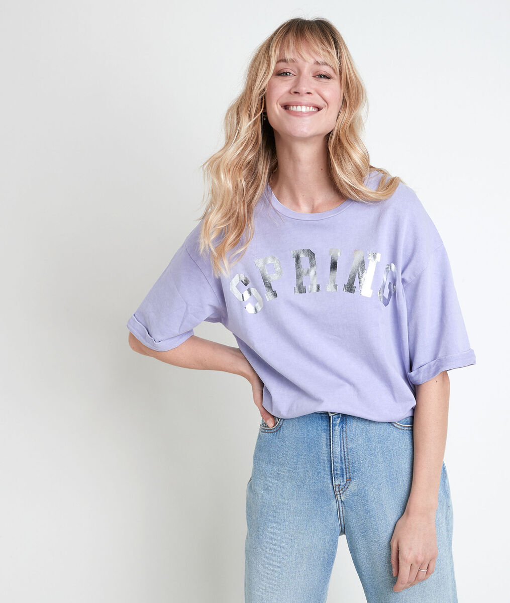 Tee-shirt en coton biologique mauve imprimé Itak bis PhotoZ | 1-2-3