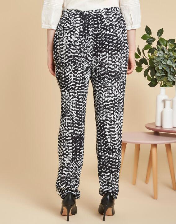 Schwarz-weiße Hose mit Print Samy (4) - 1-2-3