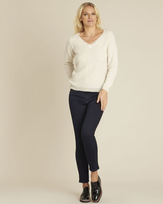 Bisou ecru mohair mix pullover with lace neckline (1) - 1-2-3