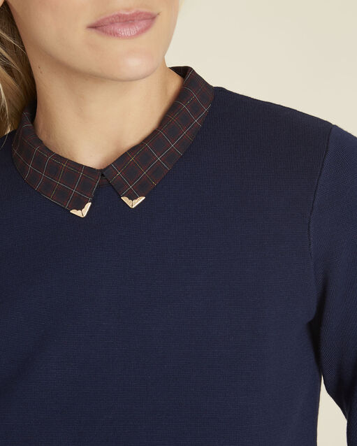 Pull chemise marine imprimé carreaux Banjo (2) - 1-2-3