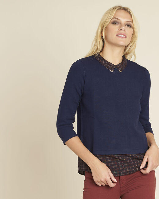 Banjo navy blue check printed sweater (2) - 1-2-3