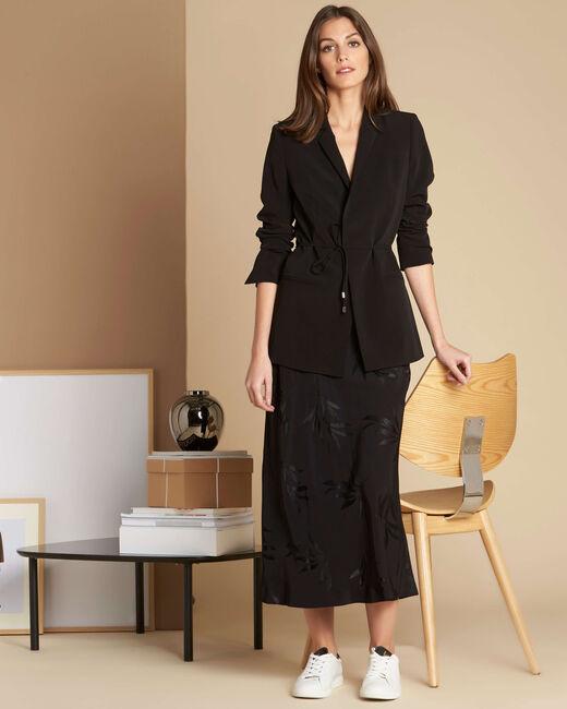 Veste noire col tailleur et lien à nouer Chiara (1) - 1-2-3