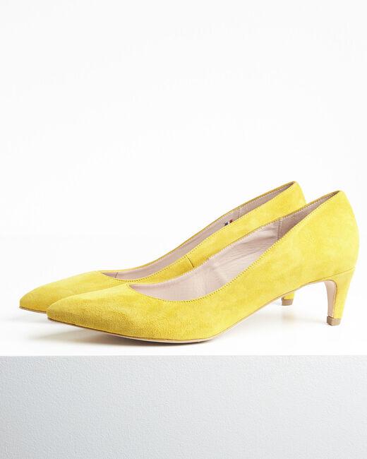 Escarpins jaune en chèvre velours Lili (2) - 1-2-3