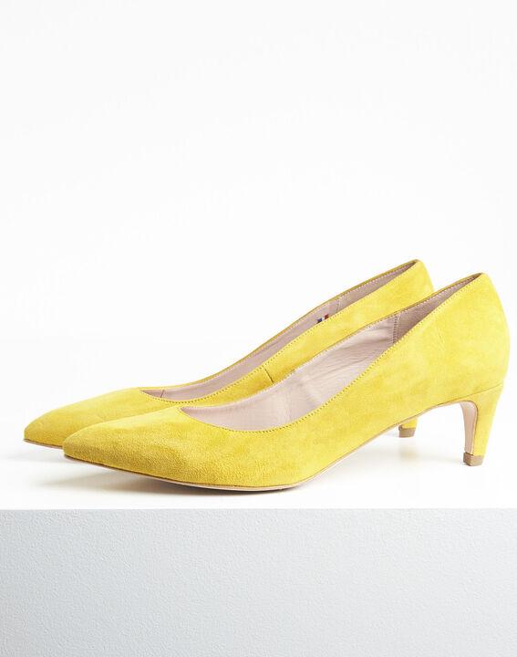 Escarpins jaune en chèvre velours Lili (3) - 1-2-3