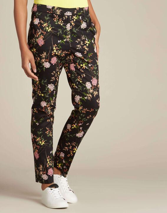 Pantalon noir imprimé fleuri Rubis (3) - 1-2-3
