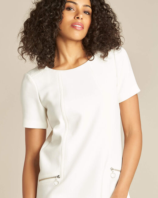 Robe blanche droite à zip Amanda (2) - 1-2-3