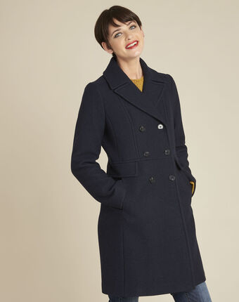 Manteau marine laine mélangée ermione bleuet.