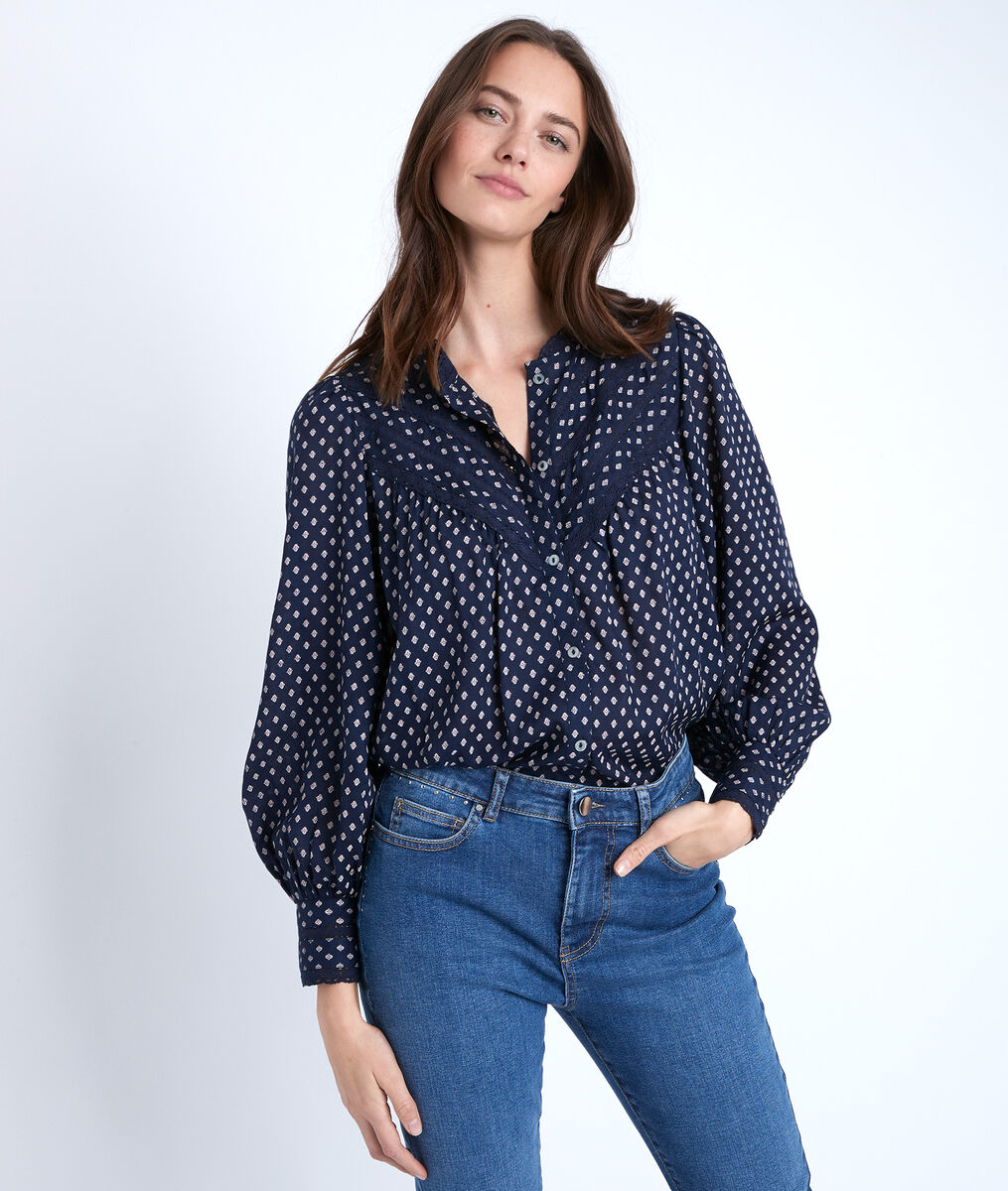 Marineblaue Bluse mit Print Tomy PhotoZ | 1-2-3