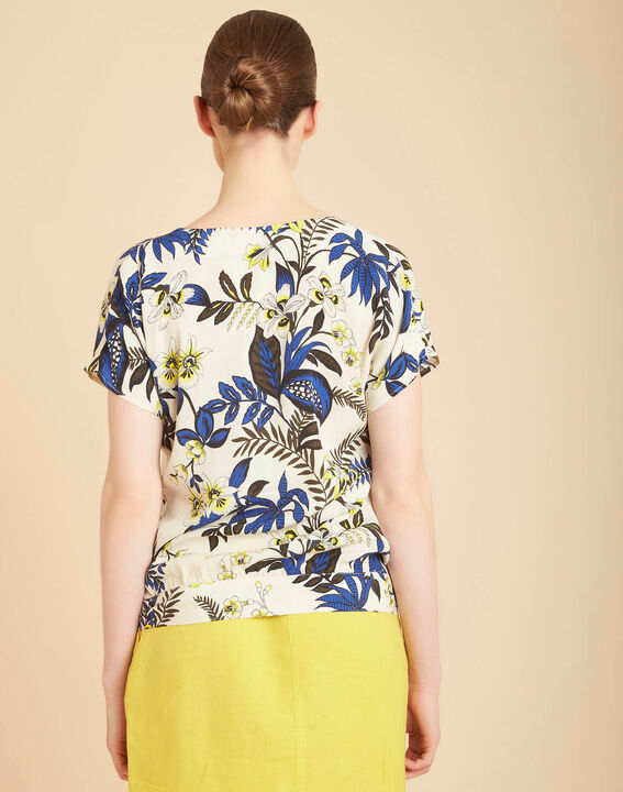 Edgee beige printed blouse with bow at the bottom (4) - 1-2-3