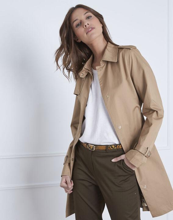 Dune beige straight-cut belted trench coat - Maison Cent Vingt-Trois 71dd794154