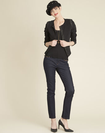 Schwarze jeansjacke mit kunstleder-schrägband saxo schwarz.