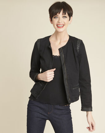 Saxo black denim bias faux leather jacket black.