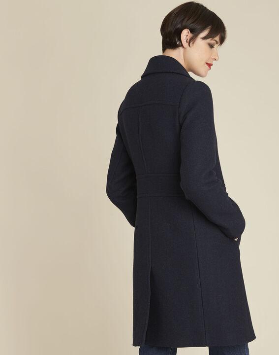 Manteau marine laine mélangée Ermione (4) - 1-2-3