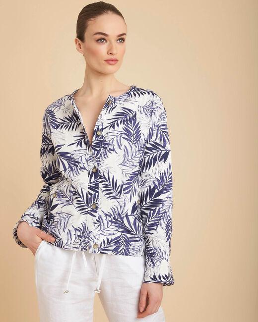 Fibie indigo cropped palm print jacket (2) - 1-2-3