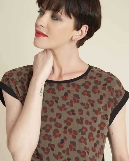 Khakifarbenes Top im Materialmix mit Animal-Print Calista (2) - 1-2-3