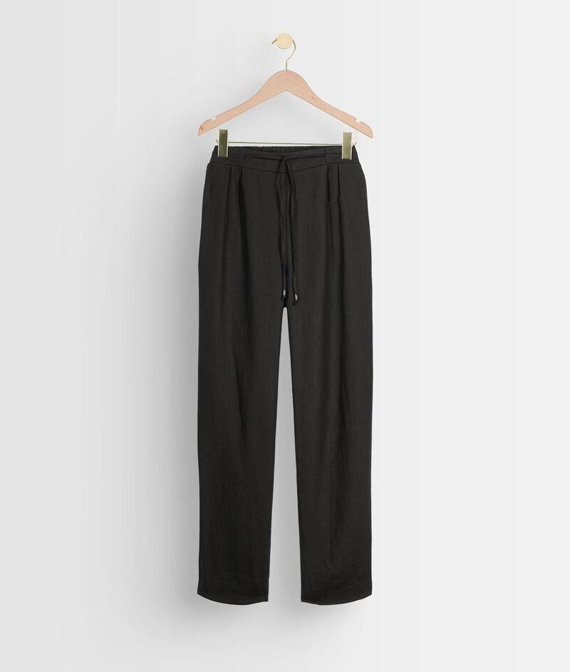 Pantalon carotte noir en lin certifié Flynn PhotoZ | 1-2-3