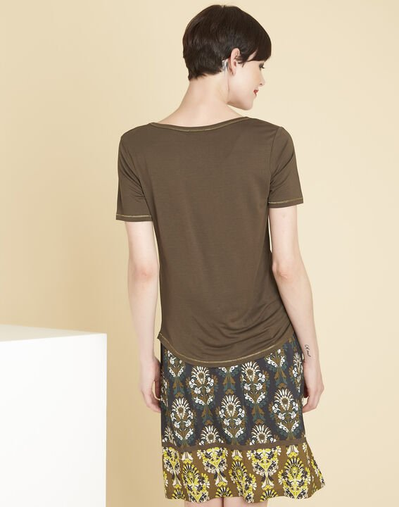 Glycel khaki T-shirt with golden threading (4) - 1-2-3