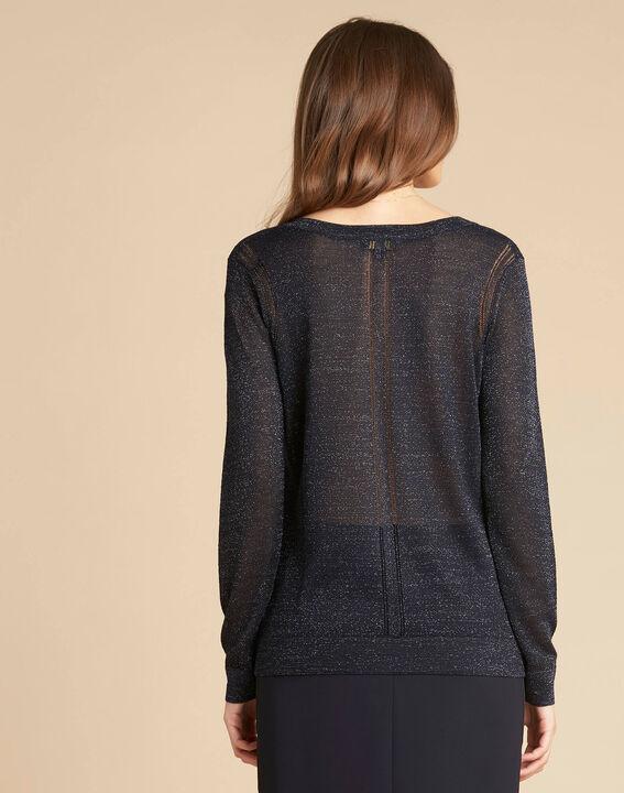 Marineblauer glänzender Pullover mit Ajour-Streifen Noisetier (4) - 1-2-3