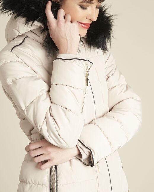 Perrine taupe faux fur hooded down jacket (2) - 1-2-3