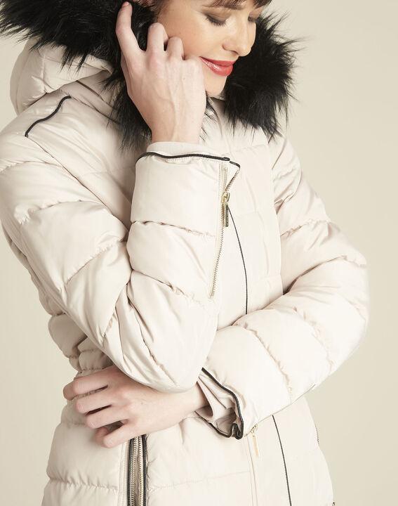 Perrine beige faux fur hooded down jacket (3) - 1-2-3