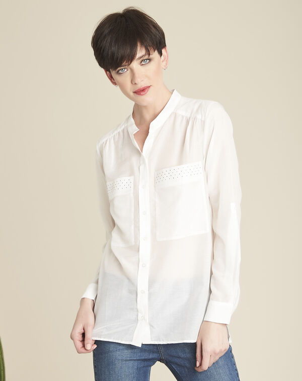 Chiara ecru silk and cotton blouse with decorative pockets (1) - 1-2-3