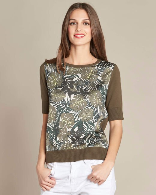 Natura dual-fabric khaki sweater with leaf print (2) - 1-2-3