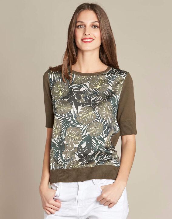 Natura dual-fabric khaki sweater with leaf print (3) - 1-2-3