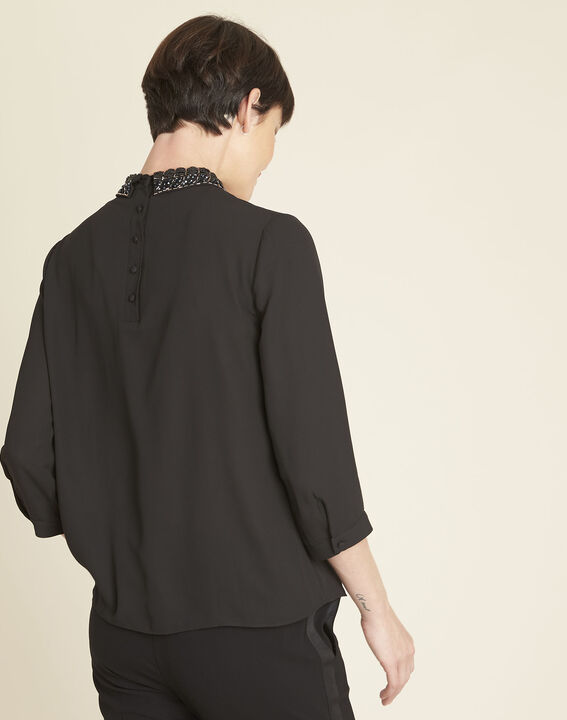 Chelone black blouse with embroidered Peter Pan collar (4) - 1-2-3