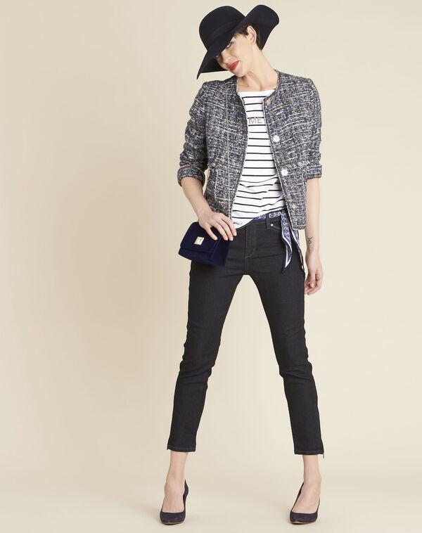 Selena cobalt blue short jacket in a decorative knit (1) - 1-2-3