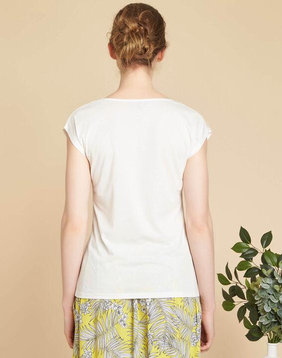 Ecru T-shirt met zeefdruk Elist (4) - 37653