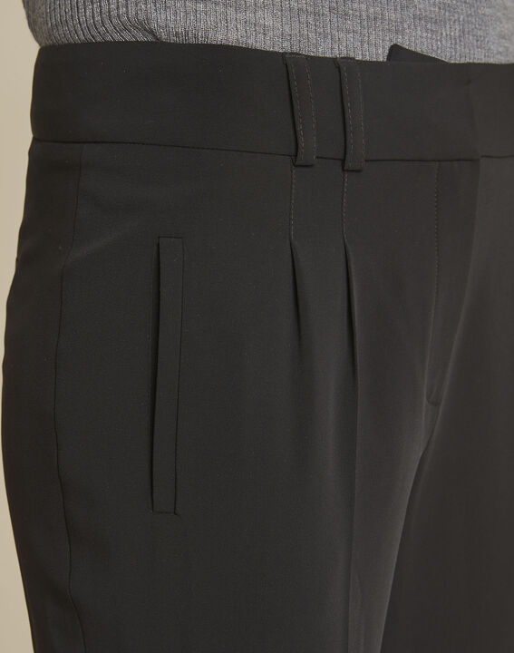 Schwarze Zigarettenhose mit Bundfaltenhose Fleurette (3) - 1-2-3