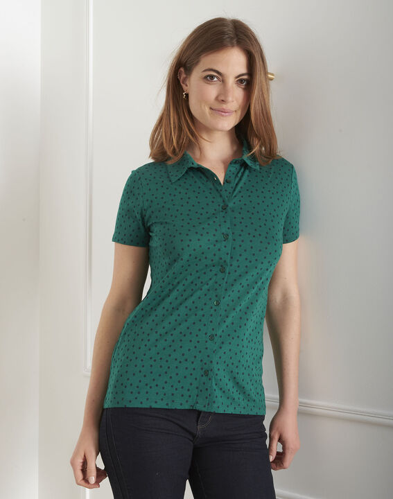 Tee-shirt vert imprimé pois Patty (1) - Maison 123