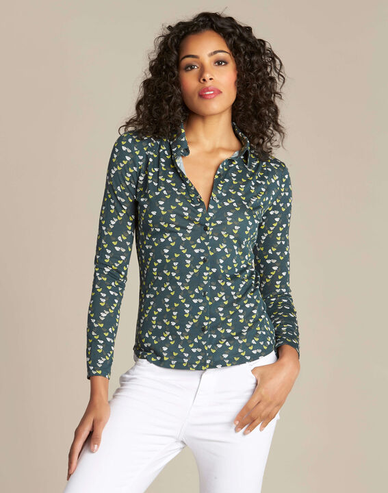 Laura forest green printed T-shirt (2) - 1-2-3
