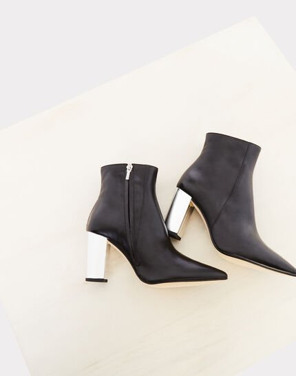 Noor black ankle boots with silver heels (4) - 1-2-3