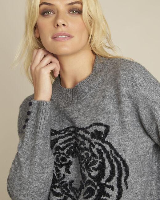 Grauer Pullover mit Löwen-Druckmuster Bonobo (2) - 1-2-3