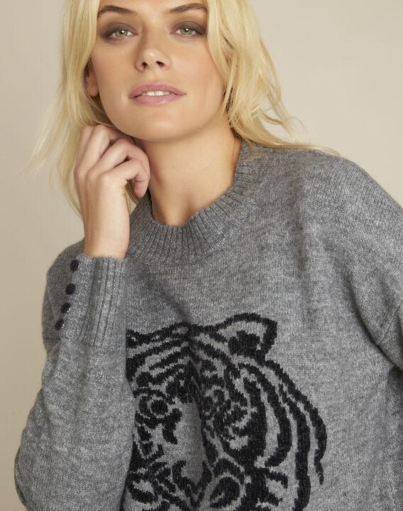Grijze trui met leeuwenprint Bonobo (3) - 37653